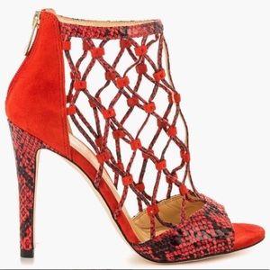 IVANKA TRUMP Delta 3 Red Snakeskin Caged Sandals